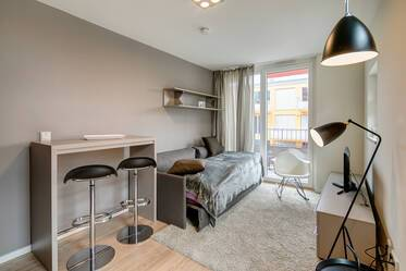 New building (2015): High-quality 1-room apartment with concierge service and balcony in Schwabing-West