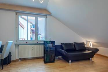 Nicely furnished 1-room attic apartment with roof terrace (east-west orientation) in Harlaching