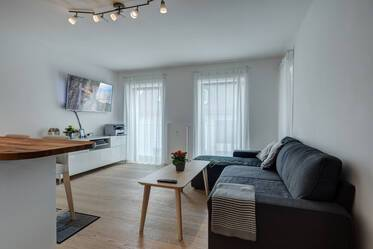 Beautifully furnished, modern 3-room apartment with balcony in new building, Munich-Nymphenburg