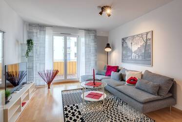 New building complex at the Arnulfpark: Nicely furnished 3-room apartment in Munich-Maxvorstadt/Neuhausen